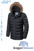 Куртка подростковая  зимняя на тинсулейте 40 размер (141-149 рост) Braggart Teenager - 7652D черная
