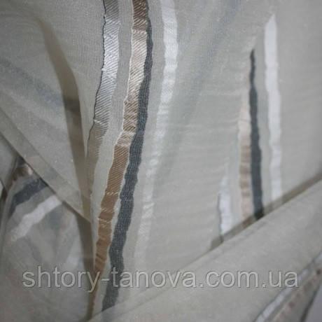 Органза лиона бежевый/серый