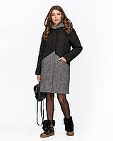 Зимняя женская куртка комбинированная с твидом