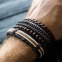 Браслет кожаный мужской mod.Total Brown коричневый, фото 1