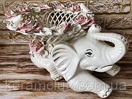 """Конфетница-слон """"Клео"""" плетенка бело-розовая лепка 24*25*25"""