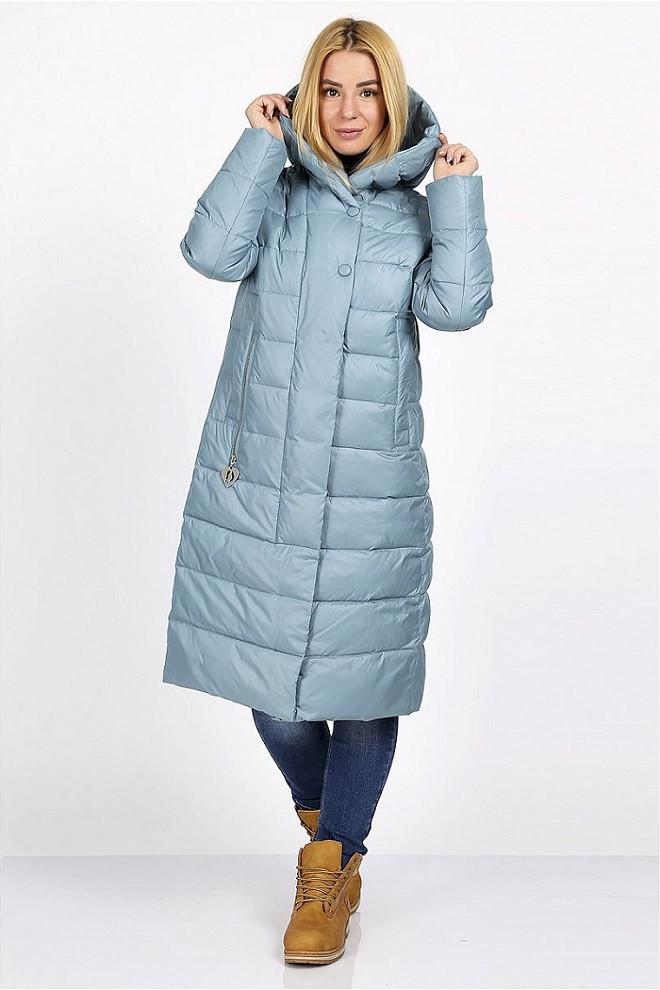 Длинная зимняя куртка Анна серо-голубой (48-56)