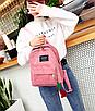 Рюкзак женский вельветовый городской Traveling Розовый, фото 3