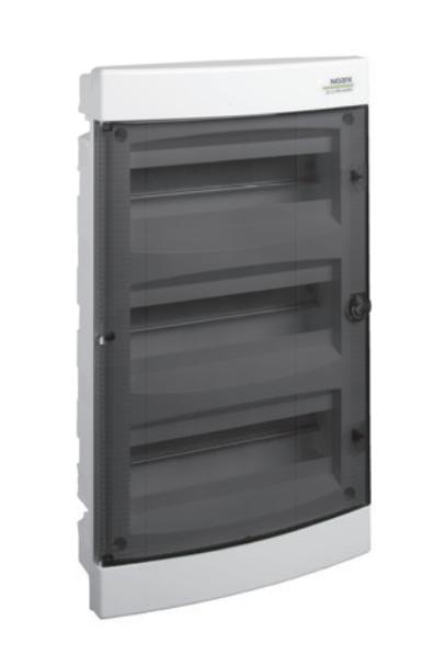 Модульный щиток, 3*18 модулей, 3 ряда, IP40, PNF 3*18T, прозрачная дверца