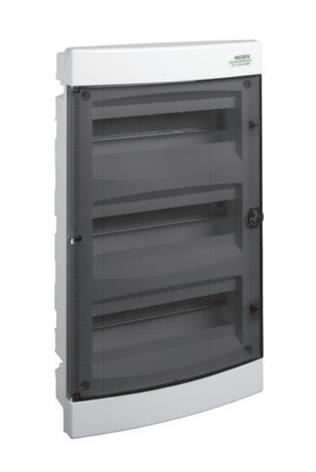 Модульный щиток, 3*18 модулей, 3 ряда, IP40, PNF 3*18T, прозрачная дверца, фото 2