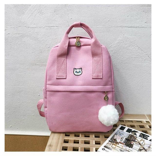 Сумка-рюкзак из холста розовый
