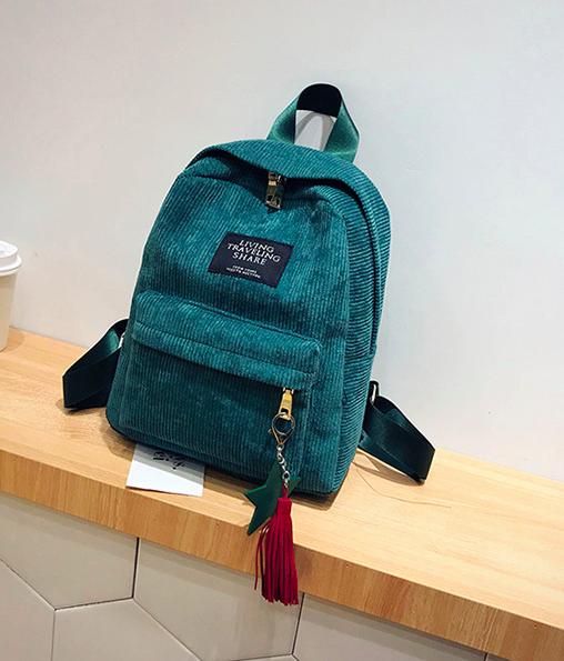 Рюкзак женский вельветовый городской Traveling Зеленый