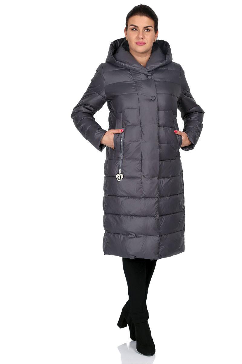 Длинная зимняя куртка Анна графит (48-56)