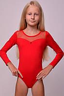 Купальник для танцев и гимнастики со вставкой из стрейч-сетки, красный