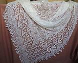 Шаль Ландыши  Ш-00023, белый, вышивка , оренбургский платок (шаль) с вышивкой, фото 4
