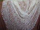 Шаль Ландыши  Ш-00023, белый, вышивка , оренбургский платок (шаль) с вышивкой, фото 7