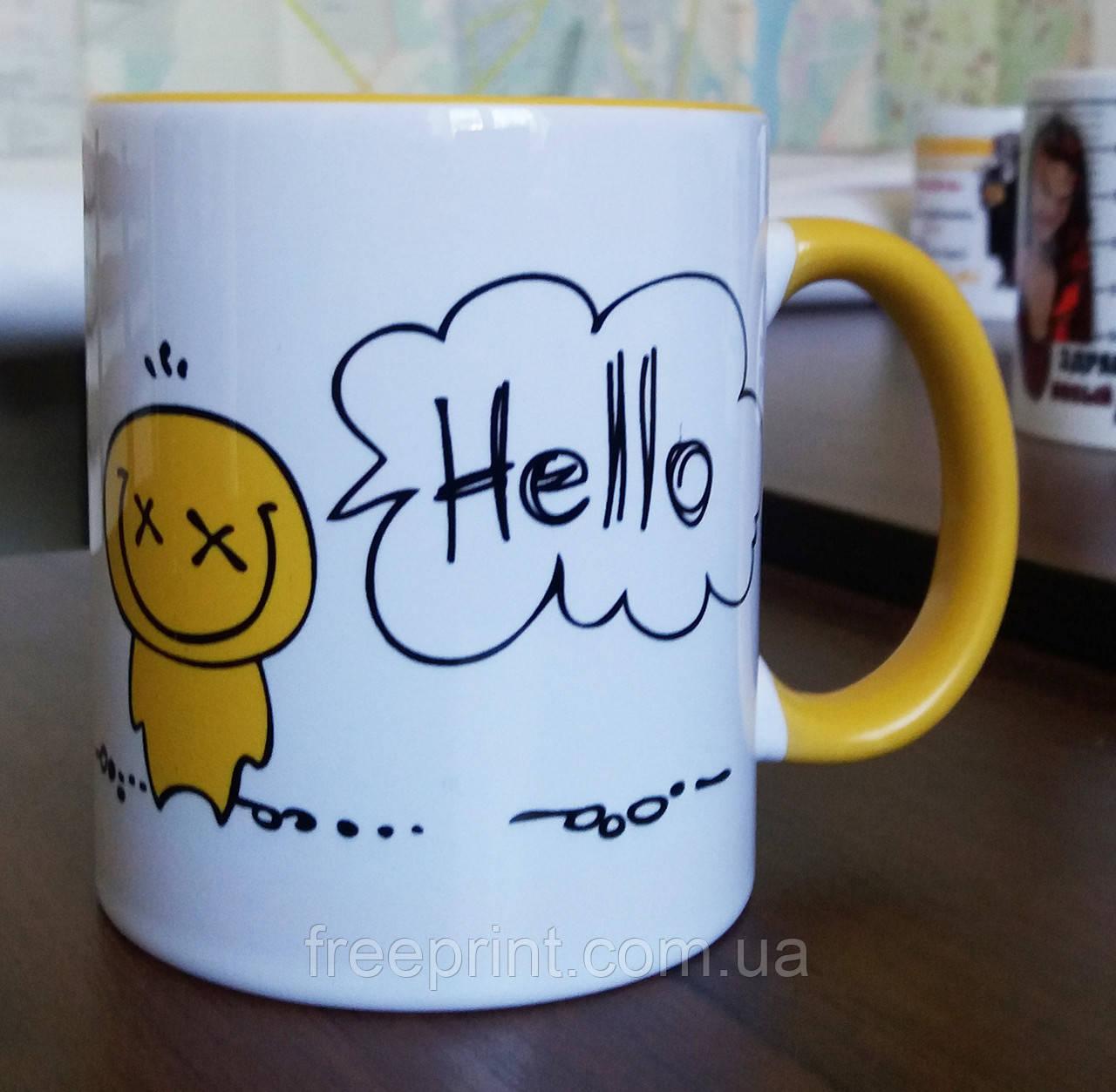"Чашка-прикол ""Hello"". Печать на чашках"