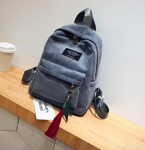 Рюкзак женский вельветовый городской Traveling Серый