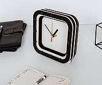Черно белые часы Квадратные часы Модные настольные часы Деревянные часы без циферблата Черные стреки 15х15 см
