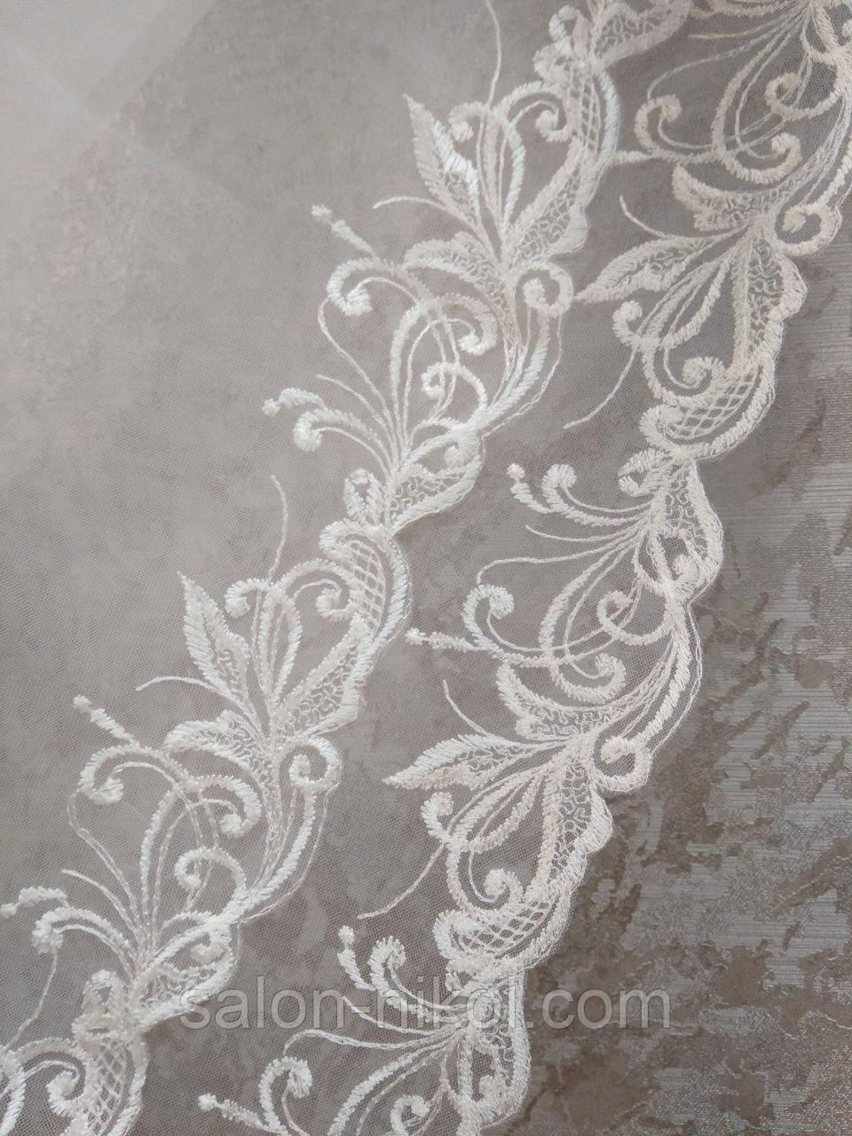 Фата с вышивкой № 1521 (1,5*2 м) удлиненная айвори