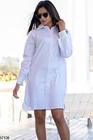 Платье-рубашка женское костюмка на коттоновой основе размер 42-46 универсальный, цвет белый