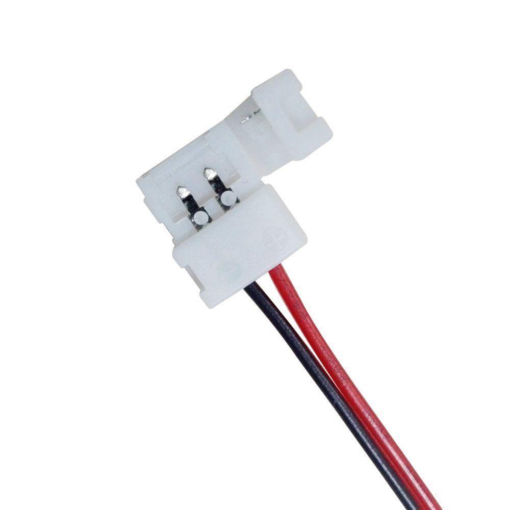 Соединительный кабель + 2 зажима для светодиодной ленты 5050 одноцветной, 10мм