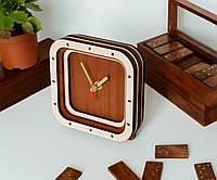 Часы с дерева Нет циферблата Квадратные часы Кленово Яблоночный цвет Двухцветные часы Диаметр часов 15 см