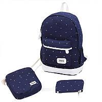 Рюкзак городской женский школьный. Набор с сумочкой и кошельком для девочки (синий), фото 1