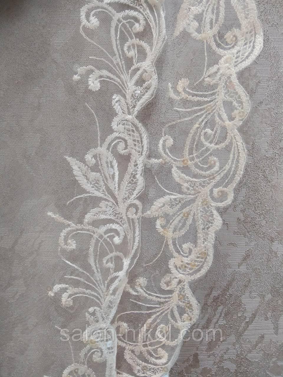 Фата с вышивкой и паетками № 1521 (1,5*2 м) удлиненная айвори
