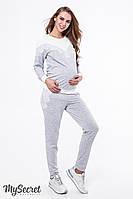 Нежный спортивный костюм для беременных и кормящих IRHEN ST-39.031, серый меланж