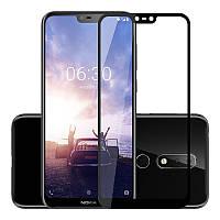 Защитное стекло для Nokia 6.1 Plus Dual Sim Нокия (TA-1116) клеится по всей поверхности черный 5D