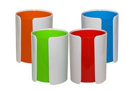 Подставкадляручек, пластиковая, яркие цвета, на 4 отделения,в кор.10*12см