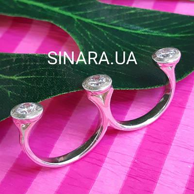 Срібне кільце на 2 пальці - Кільце на 2 фаланги - Кільце кастет срібло