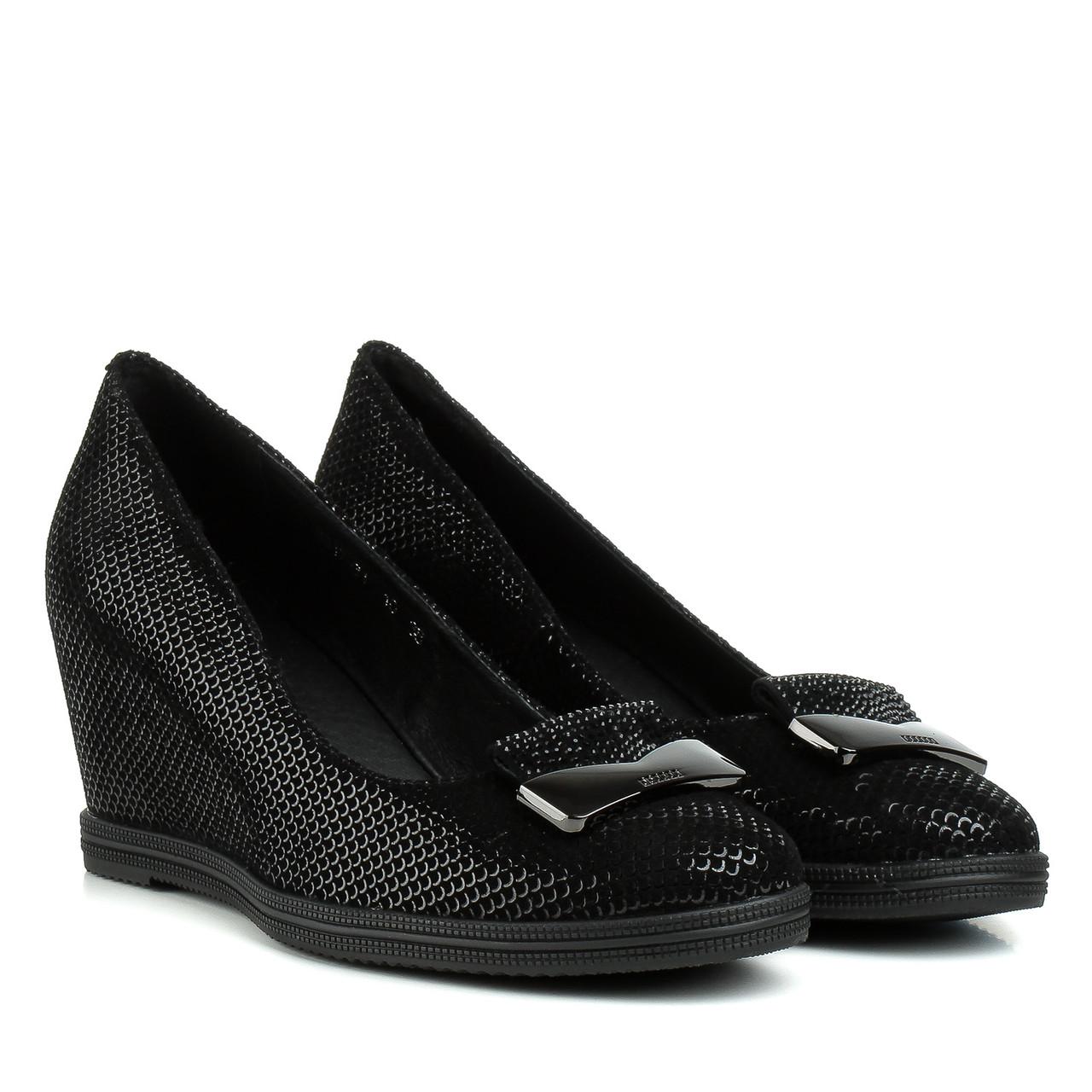 Туфли женские SUFINNA (черные, на удобной танкетке, модные)
