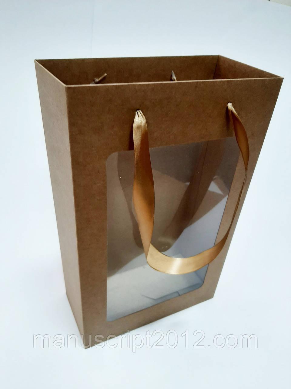 Пакет подарочный крафт 350х210х100 мм.