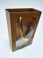 Пакет подарочный крафт 350х210х100 мм., фото 1