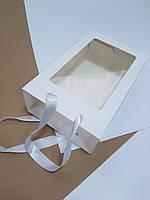 Пакет подарочный белый с окном 350х210х100 мм.