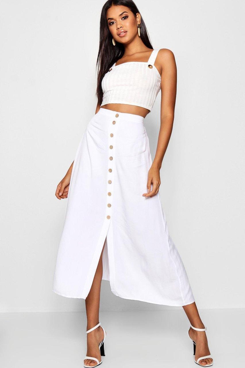 Белая длинная юбка миди с пуговицами 4915