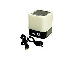 Bluetooth колонка - светильник Musky с LED часами и будильником Бежевый (1774)
