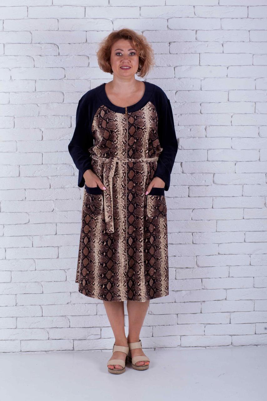 Женский велюровый халат большого размера питон