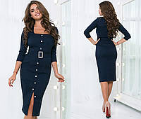 Джинсовое платье женское на кнопках - Темно-синий, фото 1