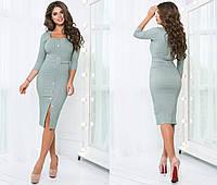 Джинсовое платье женское на кнопках - Оливка, фото 1
