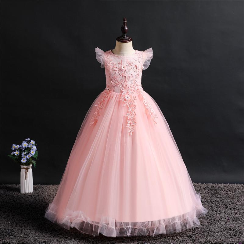 Нарядное розовое бальное платье с крылышками и кружевами в пол.  Elegant pink ball gown with wings and lace