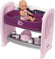 Кровать Smoby Baby Nurse Прованс с полкой и съемным столиком, с аксессуарами (220353)