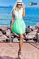 Летнее женское платье короткое без рукавов застежка пуговицы на поясе с воротником