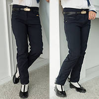 Школьные брюки, штаны на девочку с поясом (на 6, 7,8, 9,10,11 лет)