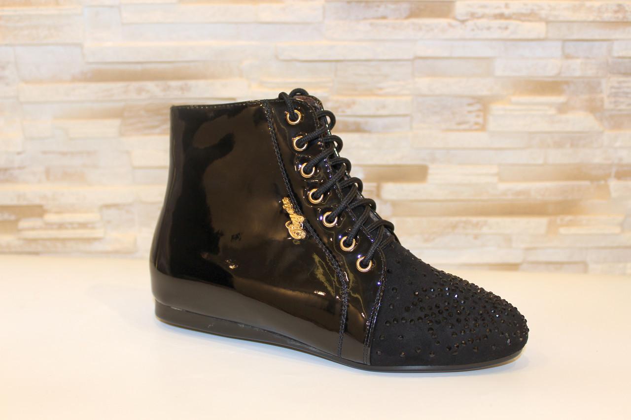 Ботинки женские черные лаковые Д590