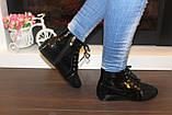 Ботинки женские черные лаковые Д590, фото 6