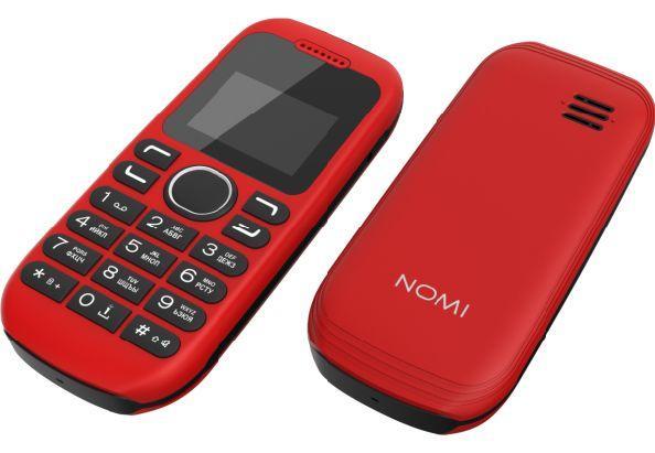 Кнопочный мобильный телефон с черно-белым монохромным экраном Nomi i144 красный