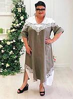 Женское платье пр-во Puasson (Турция) 52 - 64рр оливка