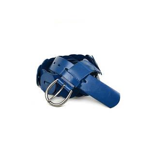 Декоративный женский кожаный ремень 2054 blue синий