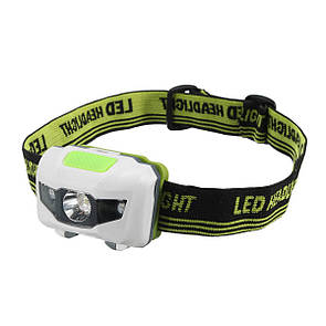 Туристический налобный фонарик белый с зеленым (3 ААА) Налобний ліхтарик LED (светодиодный)