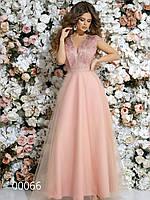 Вечернее платье в пол с гипюром и сеткой с вышивкой, 00066 (Розовый), Размер 46 (L)