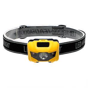 Туристический налобный фонарик желтый (3 ААА) Налобний ліхтарик LED (светодиодный)