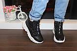 Черевики кросівки жіночі високі чорні Д593, фото 6